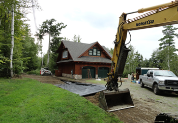 Rossignol's Excavating building a custom residential driveway.